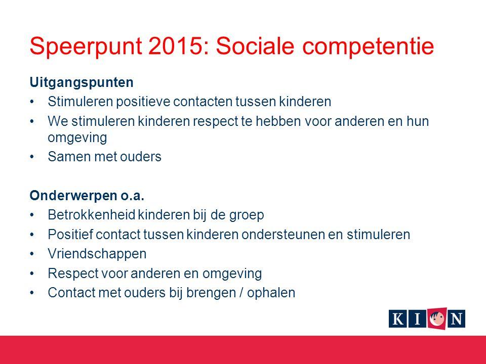 Speerpunt 2015: Sociale competentie Uitgangspunten Stimuleren positieve contacten tussen kinderen We stimuleren kinderen respect te hebben voor anderen en hun omgeving Samen met ouders Onderwerpen o.a.