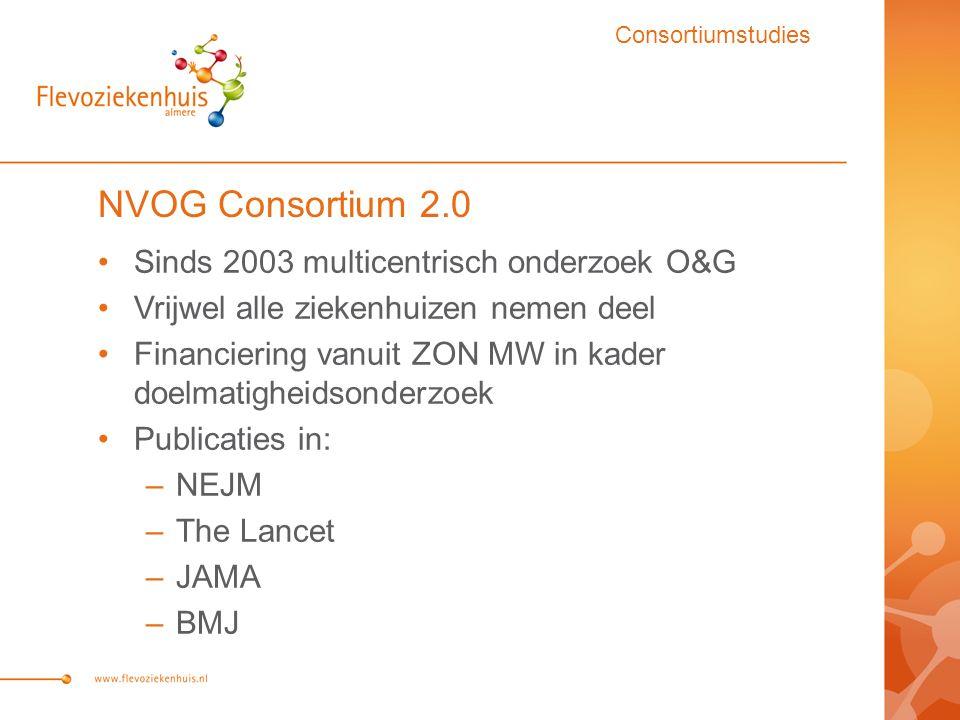 NVOG Consortium 2.0 Sinds 2003 multicentrisch onderzoek O&G Vrijwel alle ziekenhuizen nemen deel Financiering vanuit ZON MW in kader doelmatigheidsonderzoek Publicaties in: –NEJM –The Lancet –JAMA –BMJ Consortiumstudies