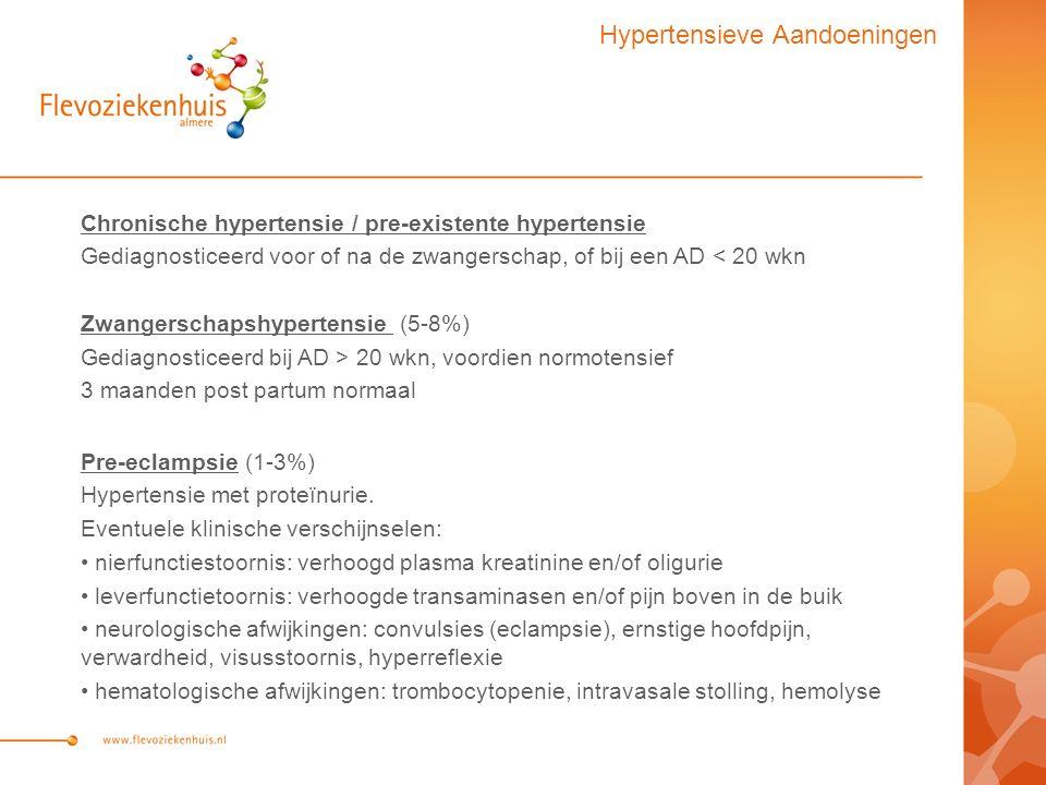 Chronische hypertensie / pre-existente hypertensie Gediagnosticeerd voor of na de zwangerschap, of bij een AD < 20 wkn Zwangerschapshypertensie (5-8%) Gediagnosticeerd bij AD > 20 wkn, voordien normotensief 3 maanden post partum normaal Pre-eclampsie (1-3%) Hypertensie met proteïnurie.