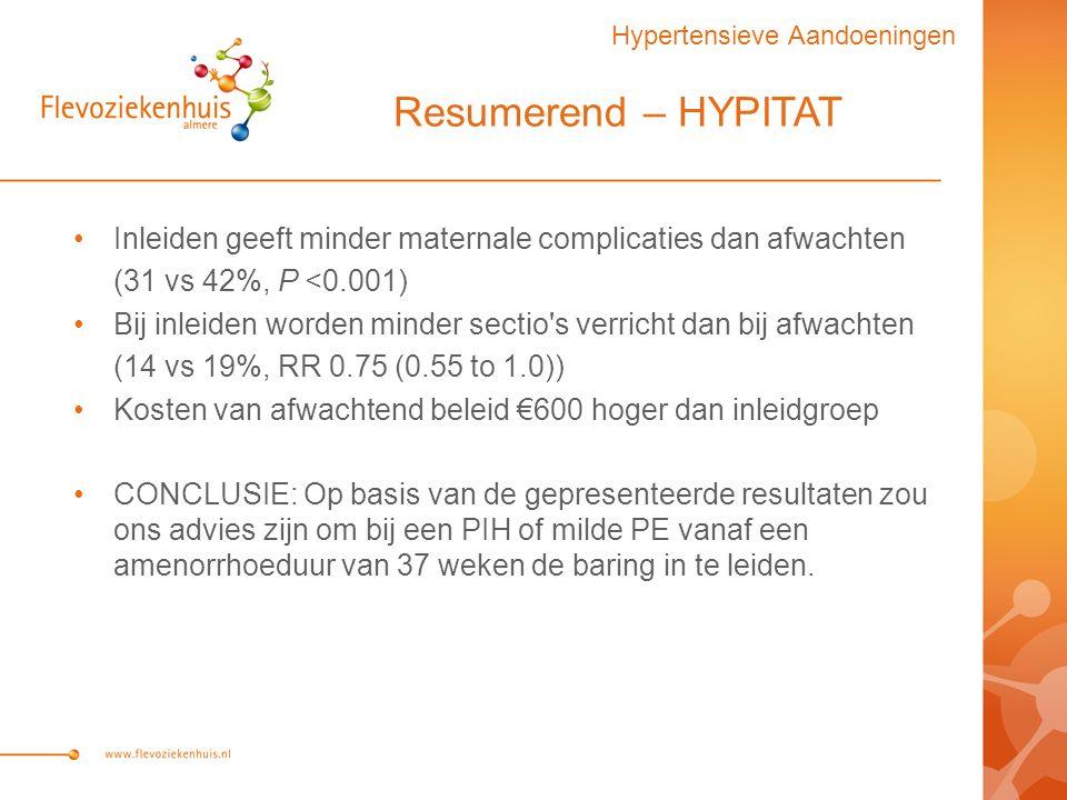 Resumerend – HYPITAT Inleiden geeft minder maternale complicaties dan afwachten (31 vs 42%, P <0.001) Bij inleiden worden minder sectio s verricht dan bij afwachten (14 vs 19%, RR 0.75 (0.55 to 1.0)) Kosten van afwachtend beleid €600 hoger dan inleidgroep CONCLUSIE: Op basis van de gepresenteerde resultaten zou ons advies zijn om bij een PIH of milde PE vanaf een amenorrhoeduur van 37 weken de baring in te leiden.