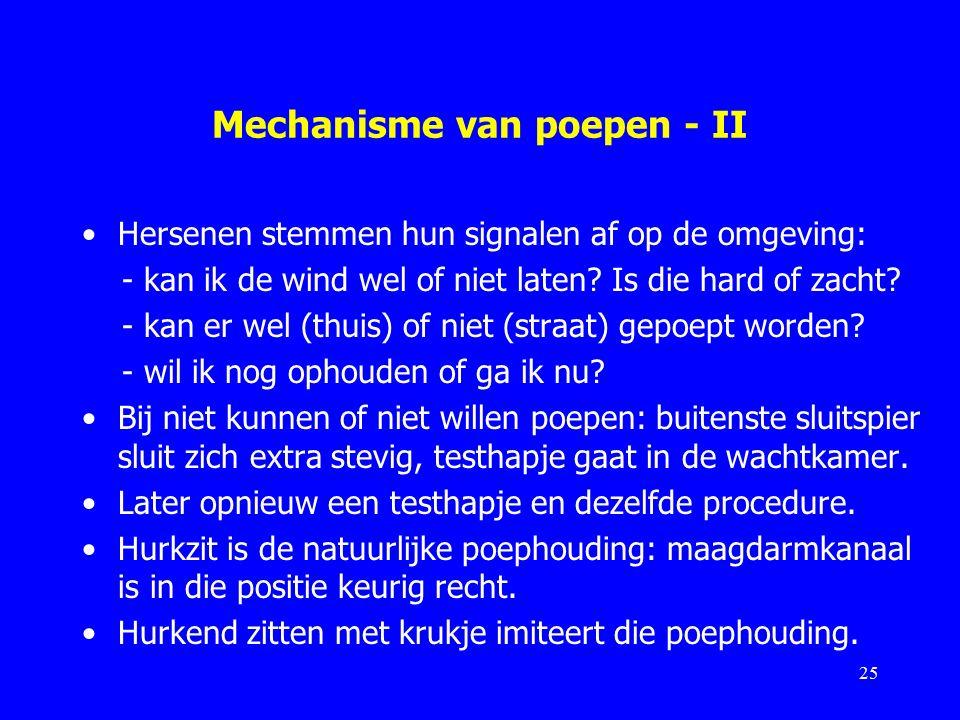 Mechanisme van poepen - II Hersenen stemmen hun signalen af op de omgeving: - kan ik de wind wel of niet laten.