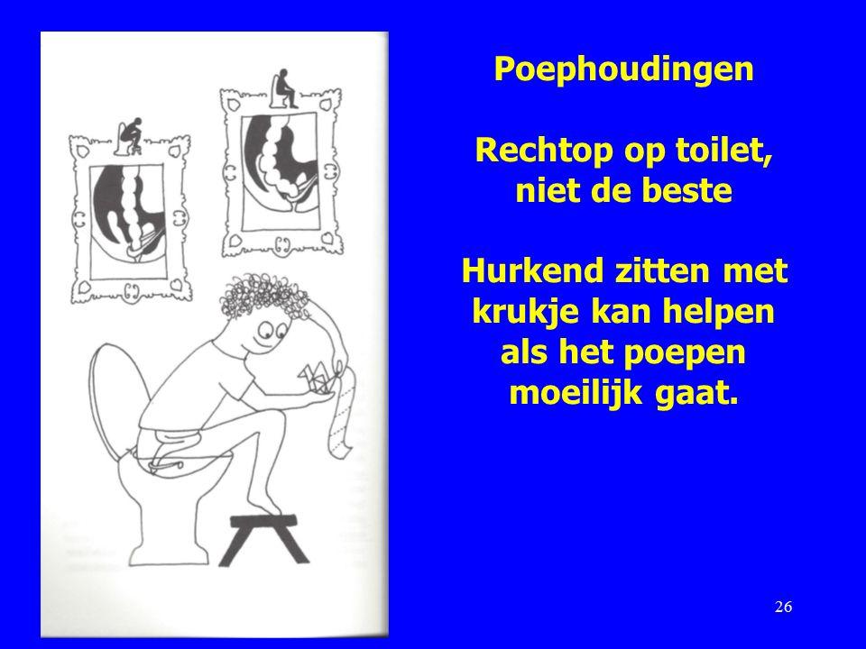 Poephoudingen Rechtop op toilet, niet de beste Hurkend zitten met krukje kan helpen als het poepen moeilijk gaat.