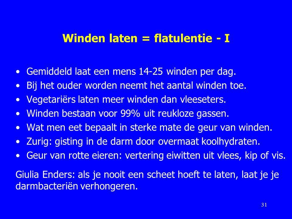 Winden laten = flatulentie - I Gemiddeld laat een mens 14-25 winden per dag.