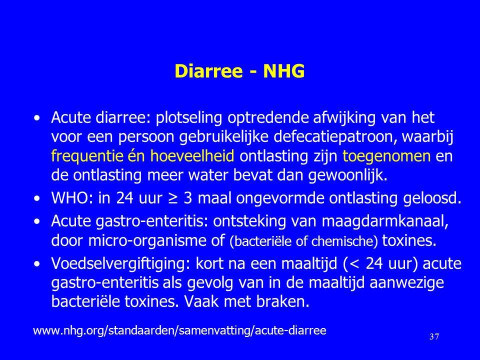 Diarree - NHG Acute diarree: plotseling optredende afwijking van het voor een persoon gebruikelijke defecatiepatroon, waarbij frequentie én hoeveelheid ontlasting zijn toegenomen en de ontlasting meer water bevat dan gewoonlijk.