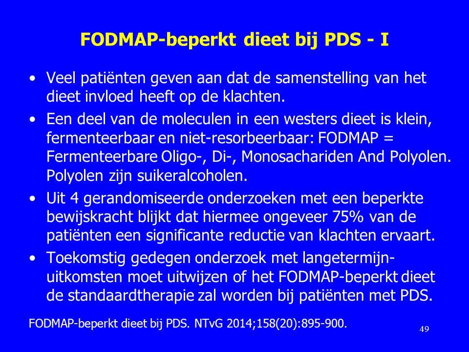FODMAP-beperkt dieet bij PDS - I Veel patiënten geven aan dat de samenstelling van het dieet invloed heeft op de klachten.