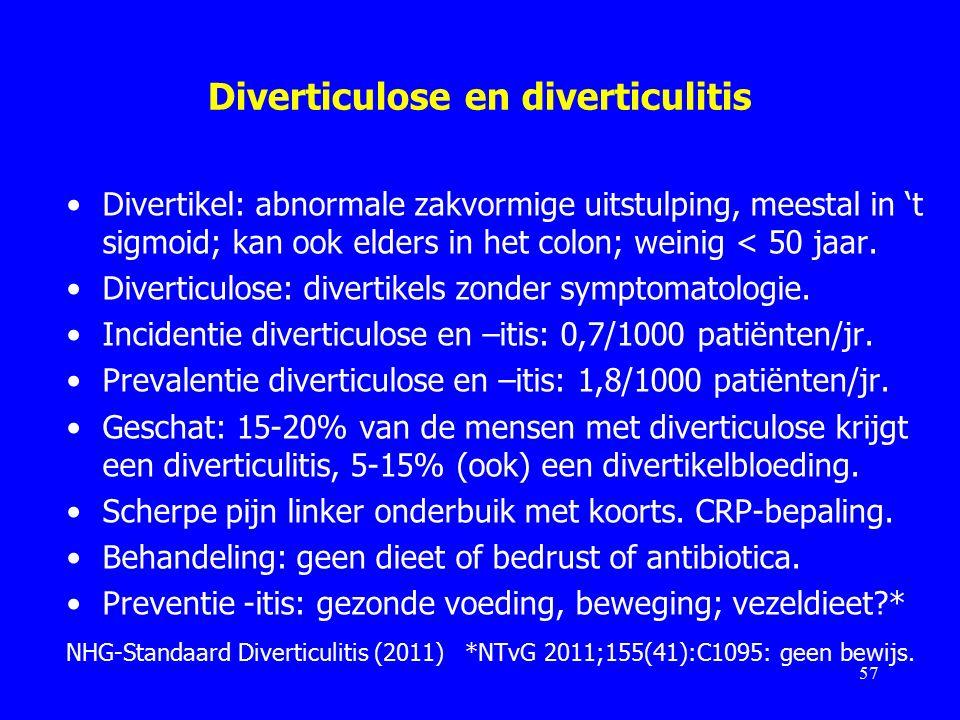 Diverticulose en diverticulitis Divertikel: abnormale zakvormige uitstulping, meestal in 't sigmoid; kan ook elders in het colon; weinig < 50 jaar.