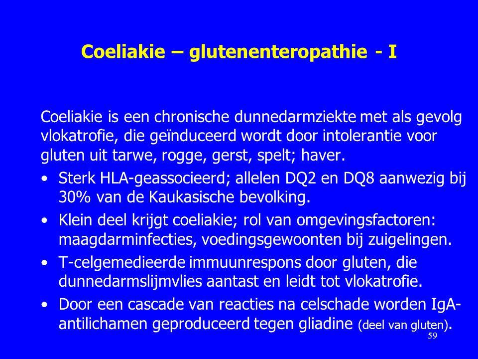 Coeliakie – glutenenteropathie - I Coeliakie is een chronische dunnedarmziekte met als gevolg vlokatrofie, die geïnduceerd wordt door intolerantie voor gluten uit tarwe, rogge, gerst, spelt; haver.