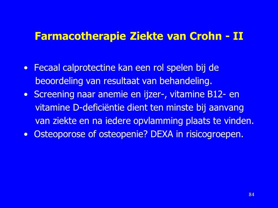 Farmacotherapie Ziekte van Crohn - II Fecaal calprotectine kan een rol spelen bij de beoordeling van resultaat van behandeling.