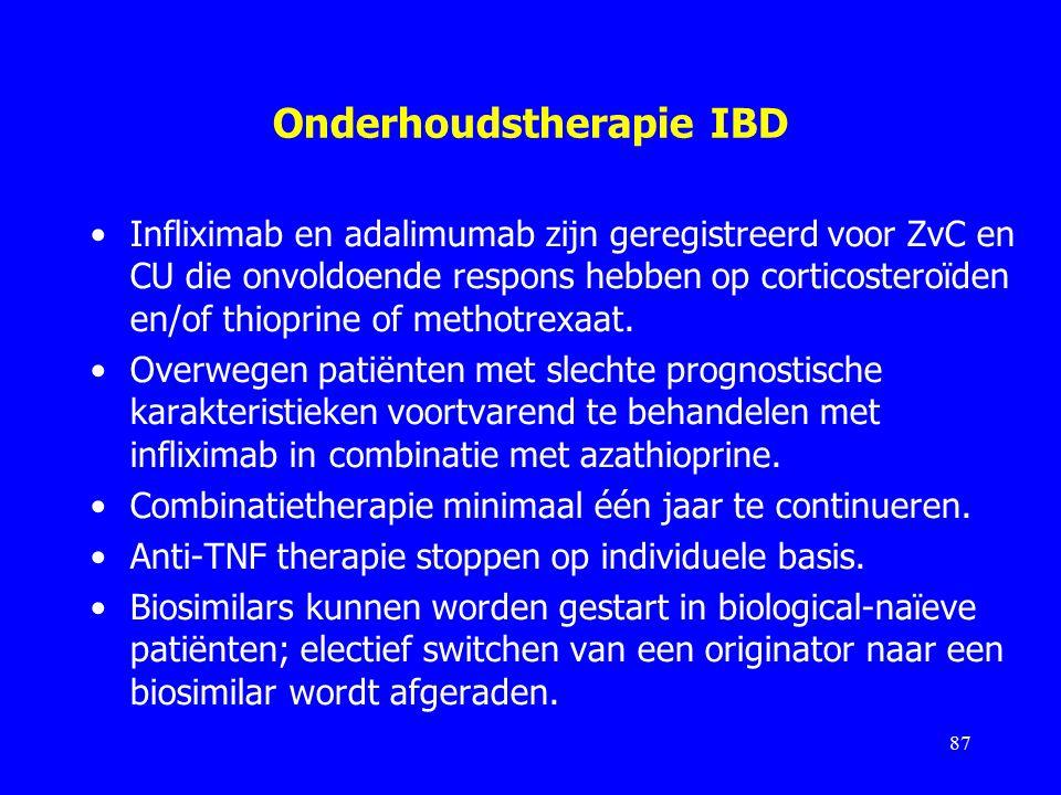 Onderhoudstherapie IBD Infliximab en adalimumab zijn geregistreerd voor ZvC en CU die onvoldoende respons hebben op corticosteroïden en/of thioprine of methotrexaat.