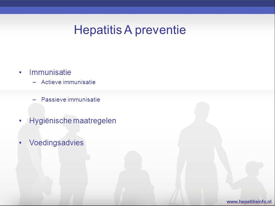 Hepatitis A preventie Immunisatie –Actieve immunisatie –Passieve immunisatie Hygiënische maatregelen Voedingsadvies