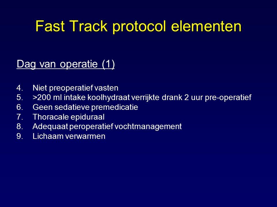 Dag van operatie (1) 4.Niet preoperatief vasten 5.>200 ml intake koolhydraat verrijkte drank 2 uur pre-operatief 6.Geen sedatieve premedicatie 7.Thora