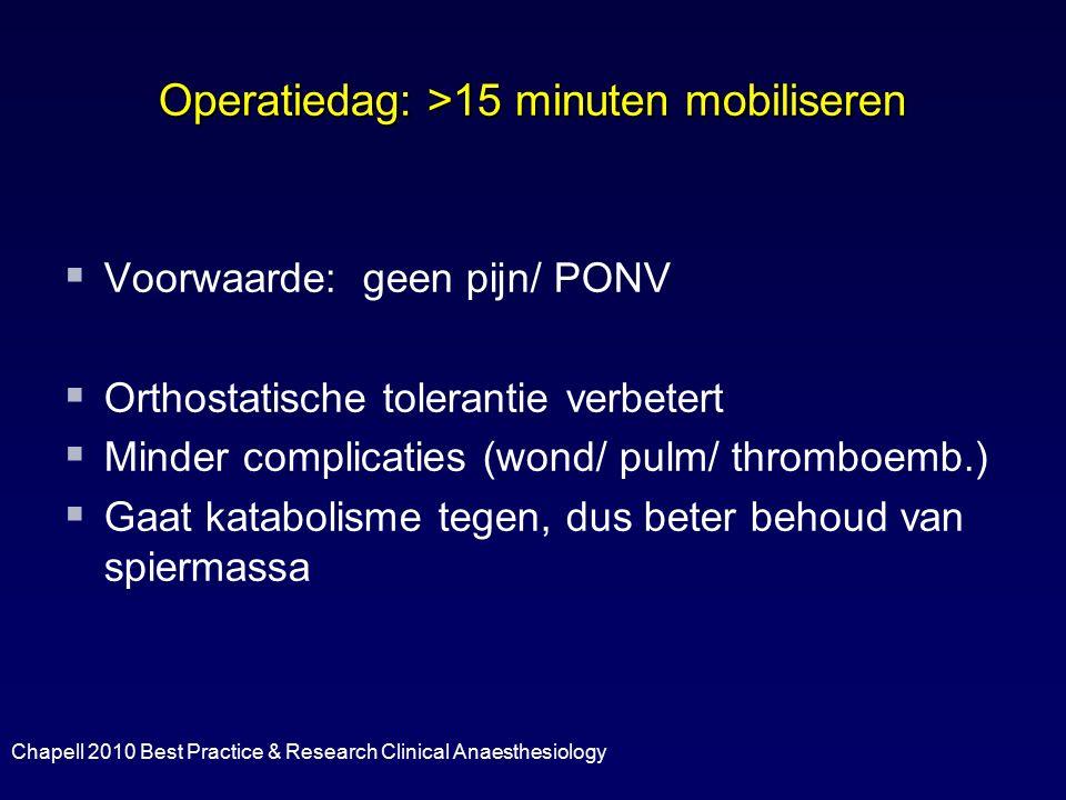Operatiedag: >15 minuten mobiliseren   Voorwaarde: geen pijn/ PONV   Orthostatische tolerantie verbetert   Minder complicaties (wond/ pulm/ thro