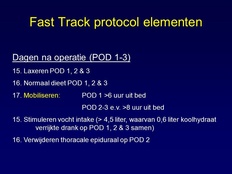 Fast Track protocol elementen Dagen na operatie (POD 1-3) 15. Laxeren POD 1, 2 & 3 16. Normaal dieet POD 1, 2 & 3 17. Mobiliseren:POD 1 >6 uur uit bed