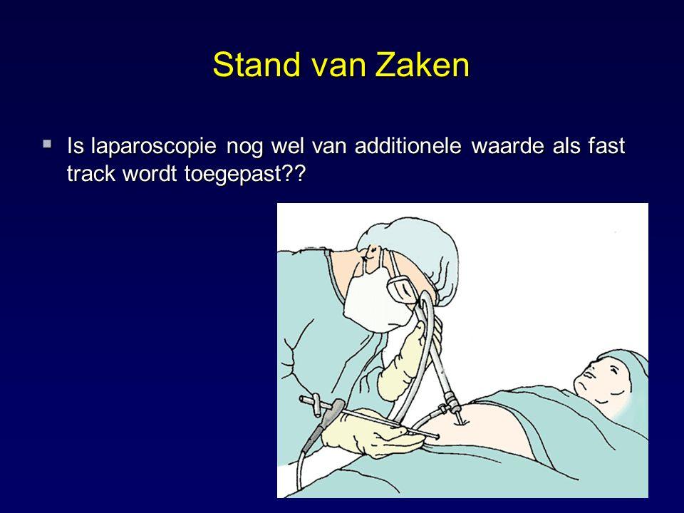  Is laparoscopie nog wel van additionele waarde als fast track wordt toegepast?? Stand van Zaken