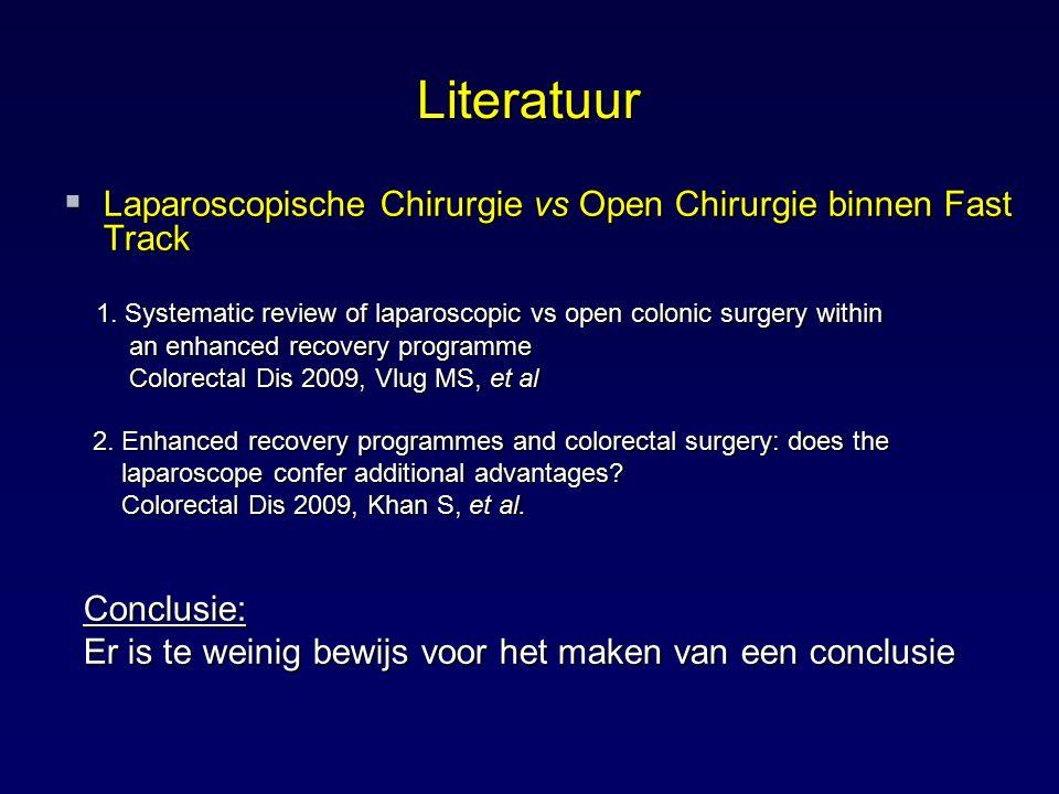 Literatuur  Laparoscopische Chirurgie vs Open Chirurgie binnen Fast Track 1. Systematic review of laparoscopic vs open colonic surgery within 1. Syst