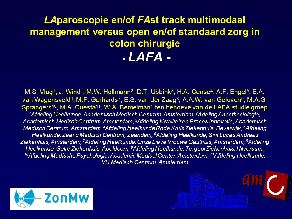 LAparoscopie en/of FAst track multimodaal management versus open en/of standaard zorg in colon chirurgie - LAFA - M.S. Vlug 1, J. Wind 1, M.W. Hollman