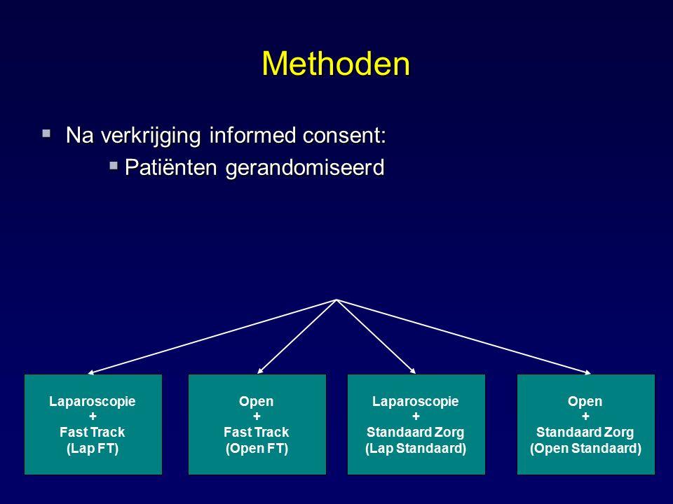 Methoden  Na verkrijging informed consent:  Patiënten gerandomiseerd Laparoscopie + Fast Track (Lap FT) Open + Fast Track (Open FT) Laparoscopie + S