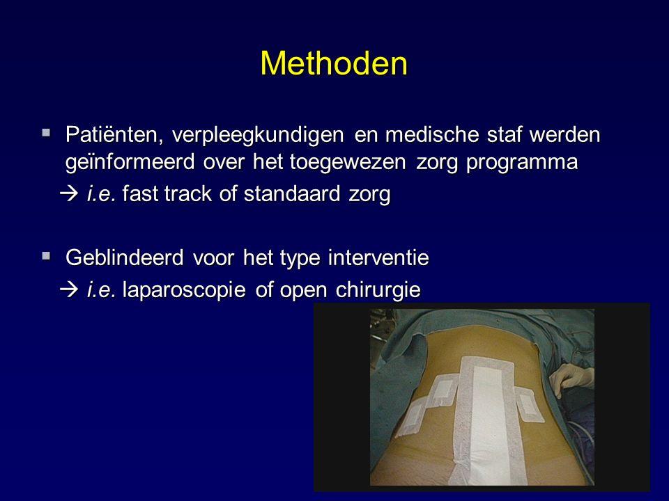 Methoden  Patiënten, verpleegkundigen en medische staf werden geϊnformeerd over het toegewezen zorg programma  i.e. fast track of standaard zorg  i