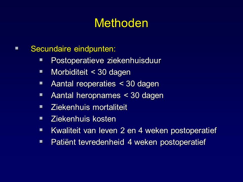 Methoden  Secundaire eindpunten:  Postoperatieve ziekenhuisduur  Morbiditeit < 30 dagen  Aantal reoperaties < 30 dagen  Aantal heropnames < 30 da