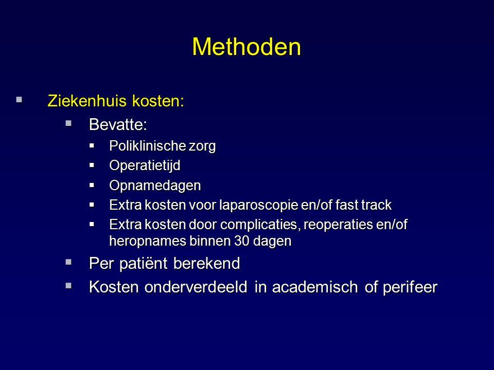 Methoden  Ziekenhuis kosten:  Bevatte:  Poliklinische zorg  Operatietijd  Opnamedagen  Extra kosten voor laparoscopie en/of fast track  Extra k