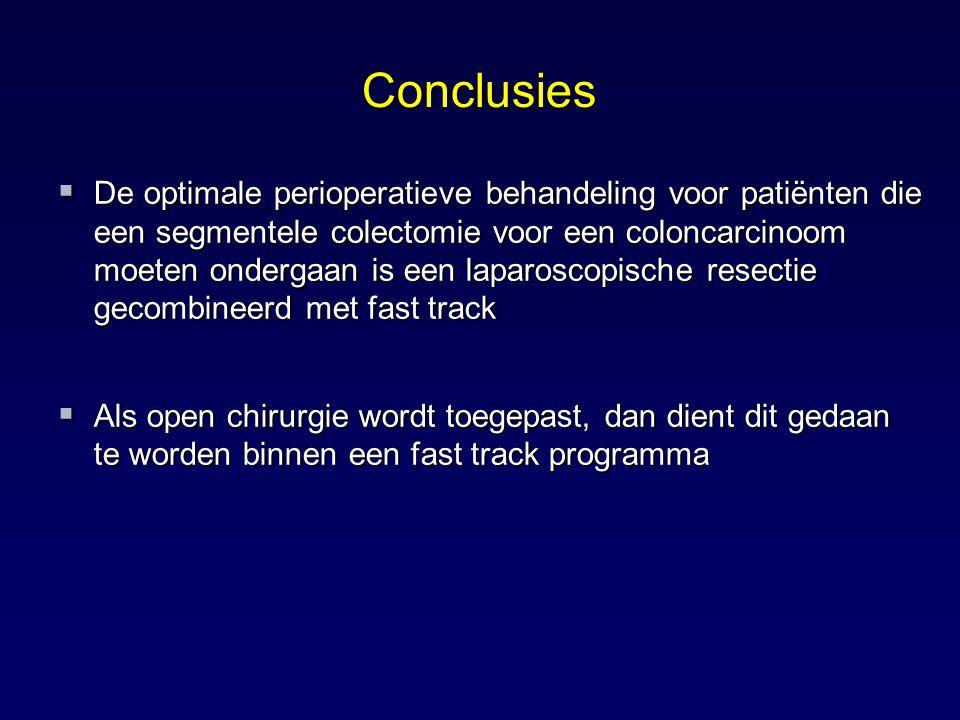 Conclusies  De optimale perioperatieve behandeling voor patiënten die een segmentele colectomie voor een coloncarcinoom moeten ondergaan is een lapar