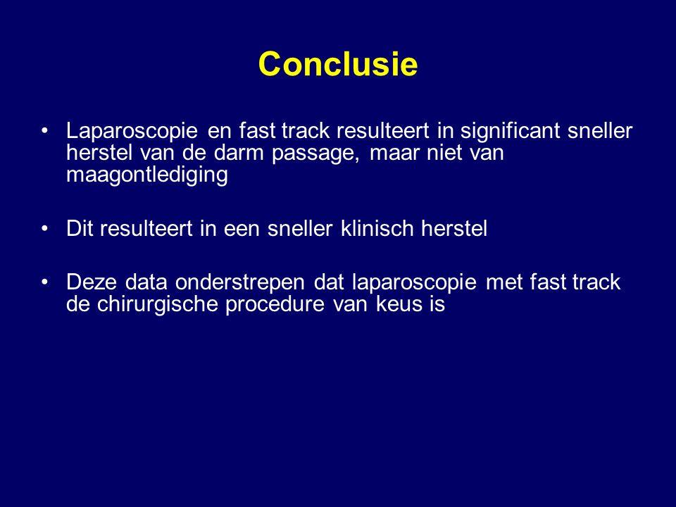 Conclusie Laparoscopie en fast track resulteert in significant sneller herstel van de darm passage, maar niet van maagontlediging Dit resulteert in ee
