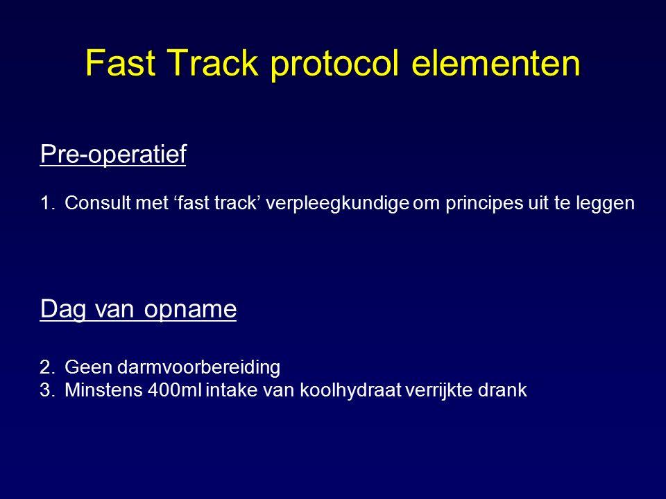 Pre-operatief 1.Consult met 'fast track' verpleegkundige om principes uit te leggen Dag van opname 2.Geen darmvoorbereiding 3.Minstens 400ml intake va
