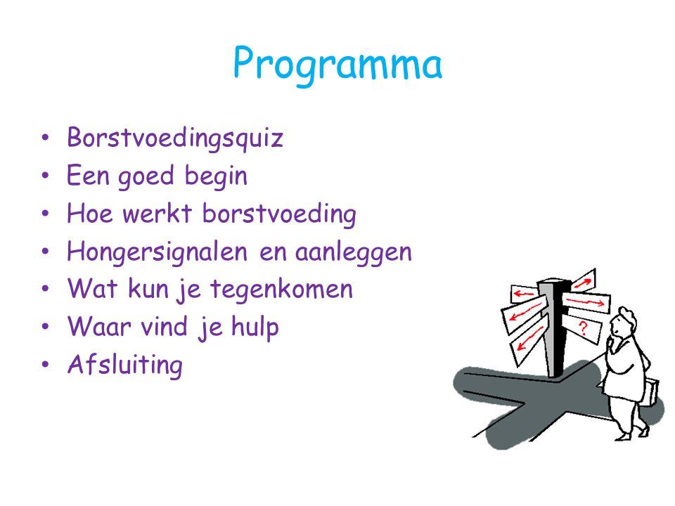 Programma Borstvoedingsquiz Een goed begin Hoe werkt borstvoeding Hongersignalen en aanleggen Wat kun je tegenkomen Waar vind je hulp Afsluiting