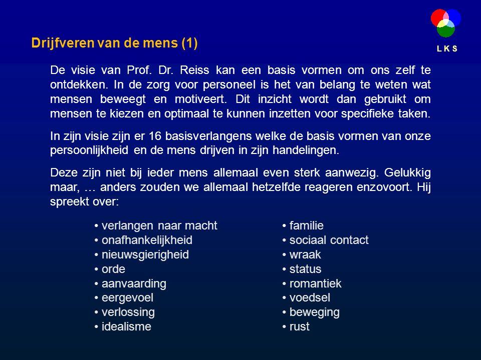 L K S De visie van Prof. Dr. Reiss kan een basis vormen om ons zelf te ontdekken.