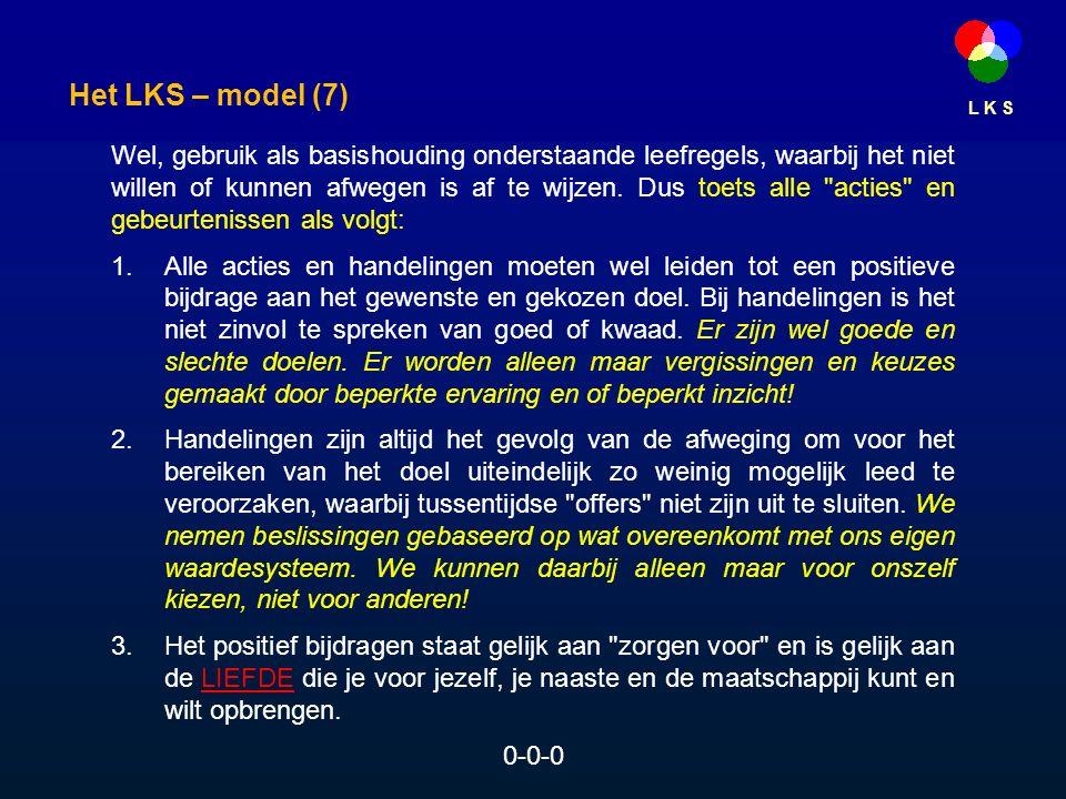 L K S Wel, gebruik als basishouding onderstaande leefregels, waarbij het niet willen of kunnen afwegen is af te wijzen.