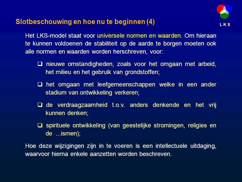L K S Het LKS-model staat voor universele normen en waarden.