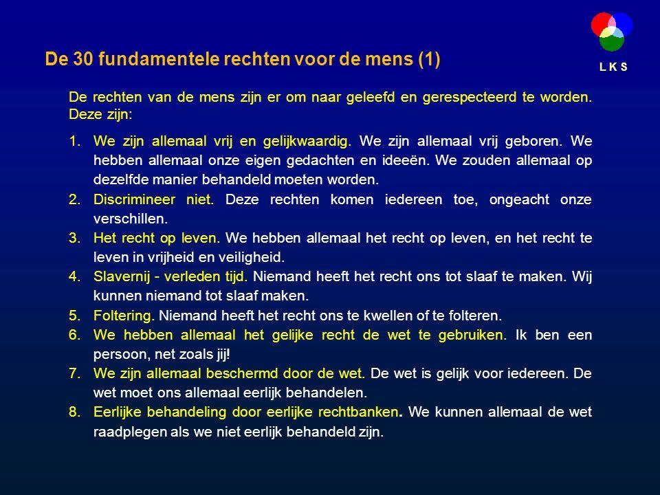 L K S De 30 fundamentele rechten voor de mens (1) De rechten van de mens zijn er om naar geleefd en gerespecteerd te worden.