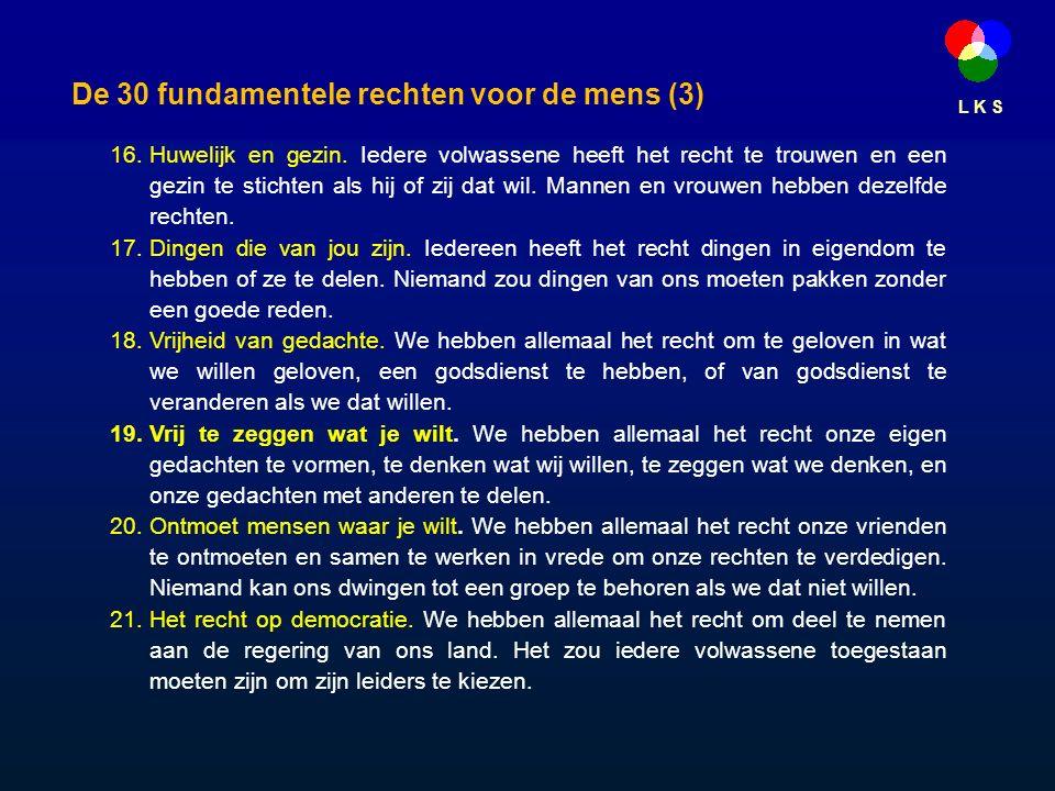 L K S De 30 fundamentele rechten voor de mens (3) 16.Huwelijk en gezin.