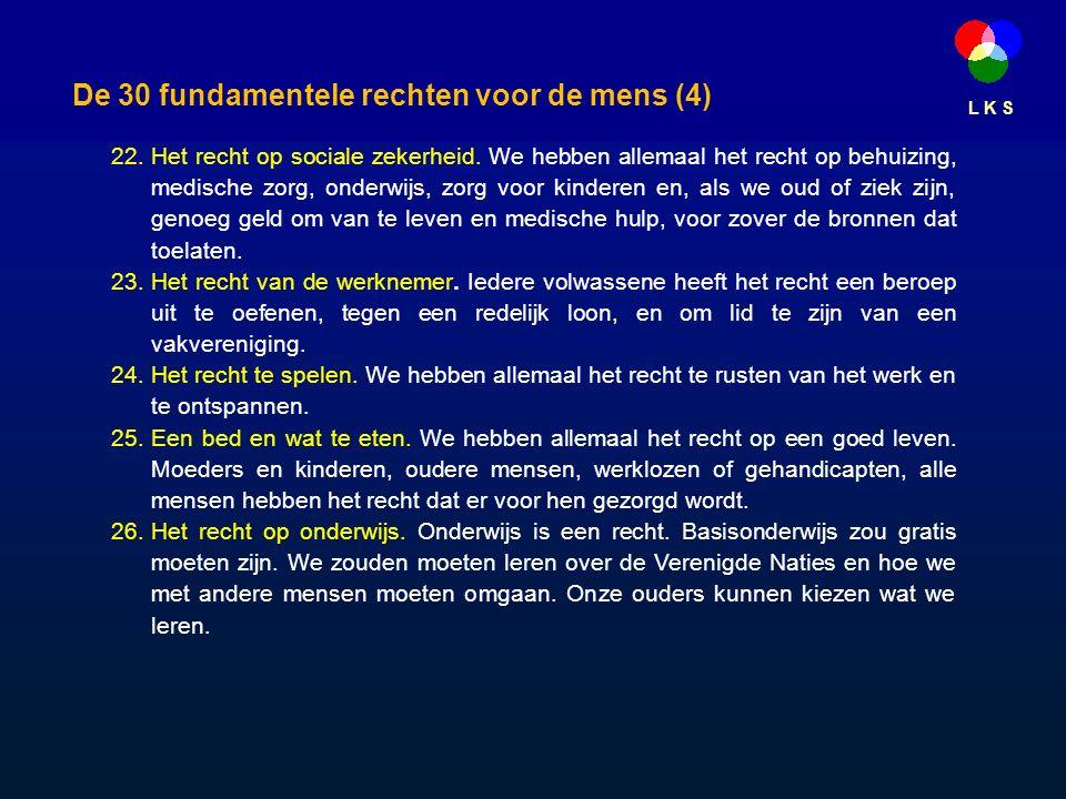 L K S De 30 fundamentele rechten voor de mens (4) 22.Het recht op sociale zekerheid.