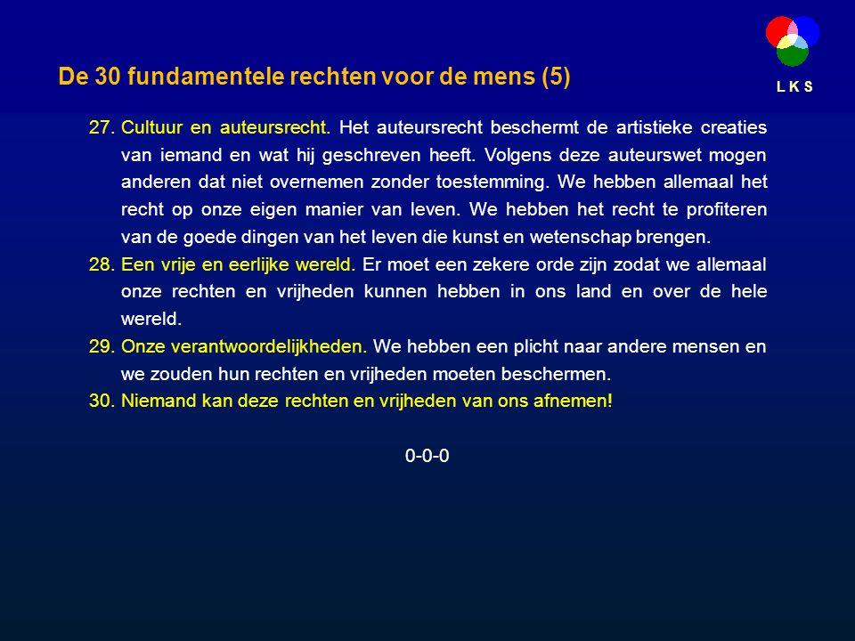 L K S De 30 fundamentele rechten voor de mens (5) 27.Cultuur en auteursrecht.