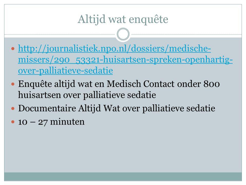 Altijd wat enquête http://journalistiek.npo.nl/dossiers/medische- missers/290_53321-huisartsen-spreken-openhartig- over-palliatieve-sedatie http://journalistiek.npo.nl/dossiers/medische- missers/290_53321-huisartsen-spreken-openhartig- over-palliatieve-sedatie Enquête altijd wat en Medisch Contact onder 800 huisartsen over palliatieve sedatie Documentaire Altijd Wat over palliatieve sedatie 10 – 27 minuten