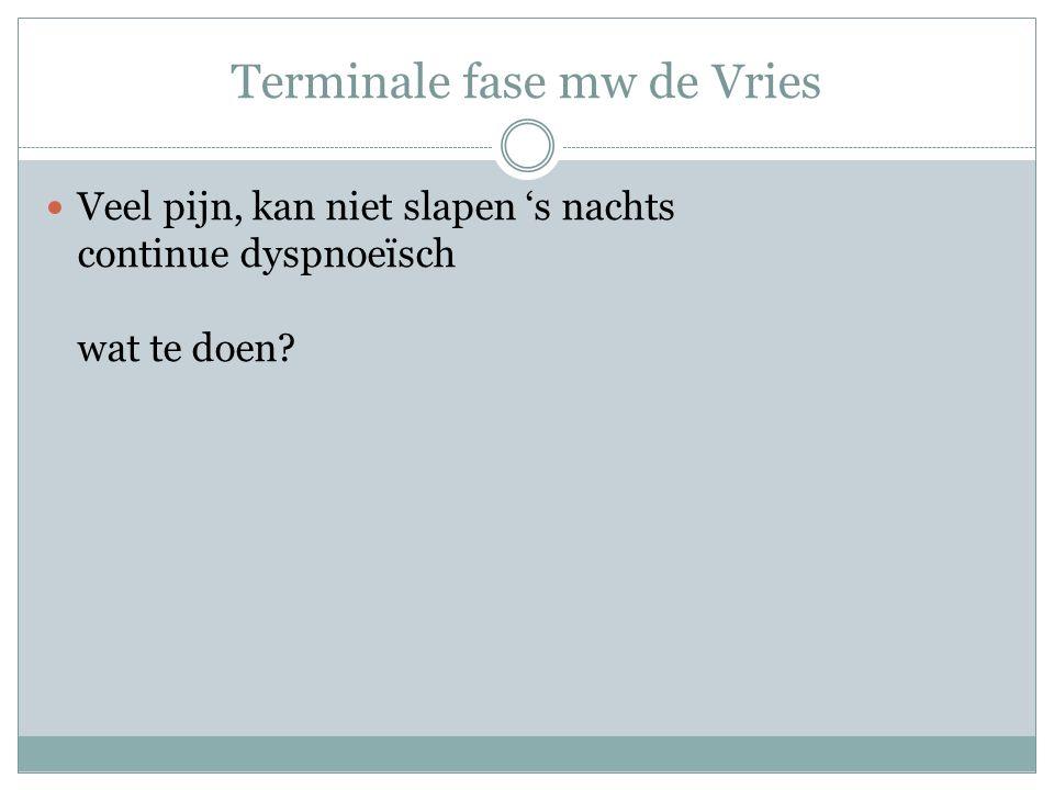 Terminale fase mw de Vries Veel pijn, kan niet slapen 's nachts continue dyspnoeïsch wat te doen