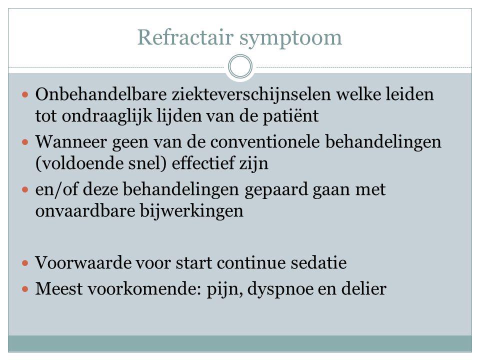 Continue sedatie Welke symptomen verwacht je bij de pt?