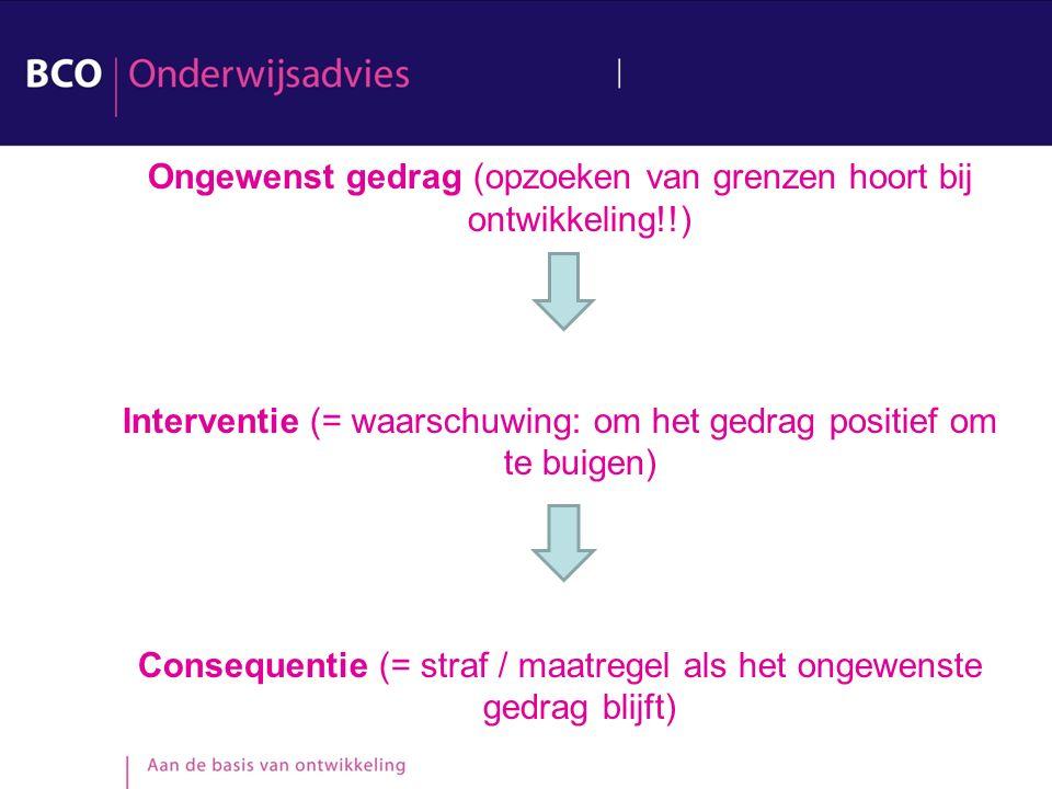 Ongewenst gedrag (opzoeken van grenzen hoort bij ontwikkeling!!) Interventie (= waarschuwing: om het gedrag positief om te buigen) Consequentie (= straf / maatregel als het ongewenste gedrag blijft)