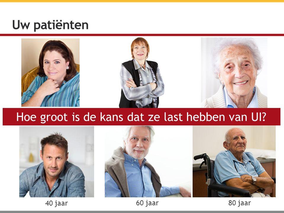 Uw patiënten 54 jaar 45 jaar 82 jaar 40 jaar 60 jaar 80 jaar Hoe groot is de kans dat ze last hebben van UI?