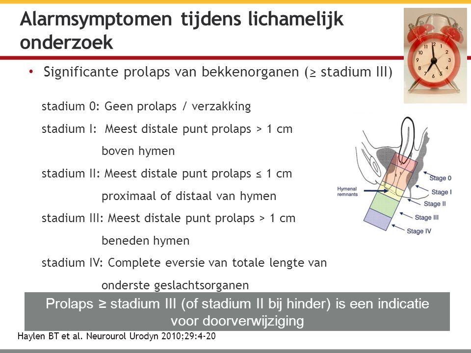 Significante prolaps van bekkenorganen (≥ stadium III) Haylen BT et al.