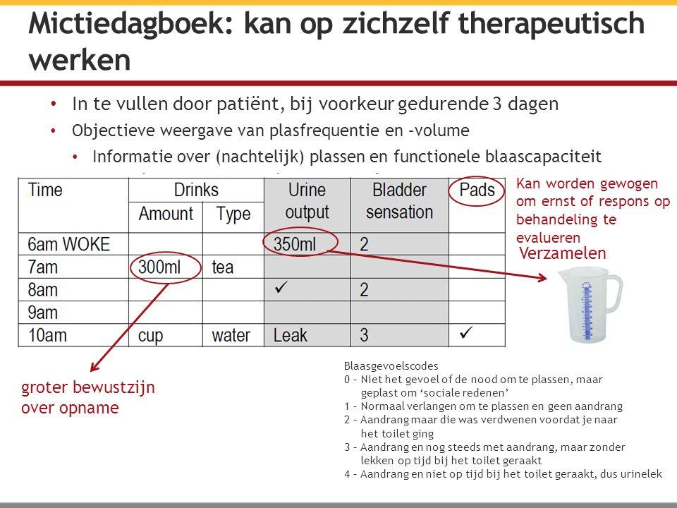 In te vullen door patiënt, bij voorkeur gedurende 3 dagen Objectieve weergave van plasfrequentie en –volume Informatie over (nachtelijk) plassen en fu