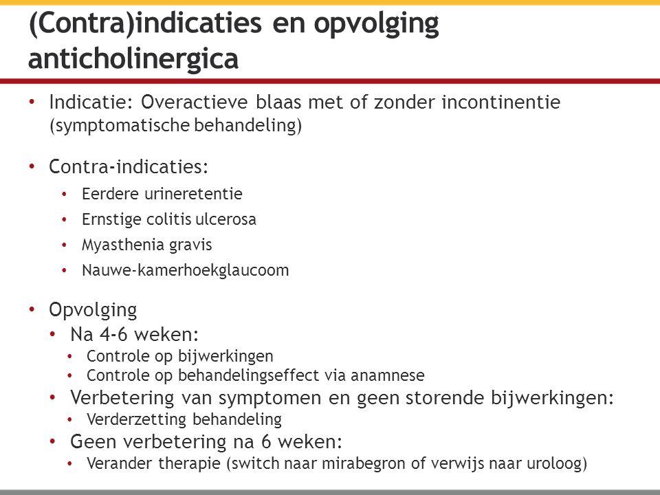 Indicatie: Overactieve blaas met of zonder incontinentie (symptomatische behandeling) Contra-indicaties: Eerdere urineretentie Ernstige colitis ulcero