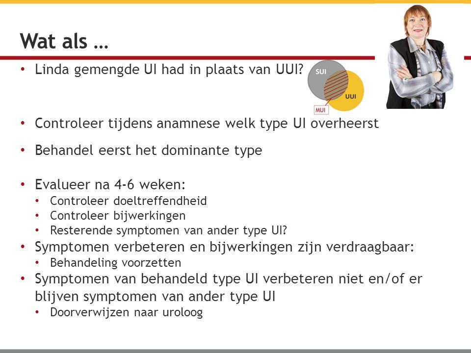 Linda gemengde UI had in plaats van UUI? Controleer tijdens anamnese welk type UI overheerst Behandel eerst het dominante type Evalueer na 4-6 weken: