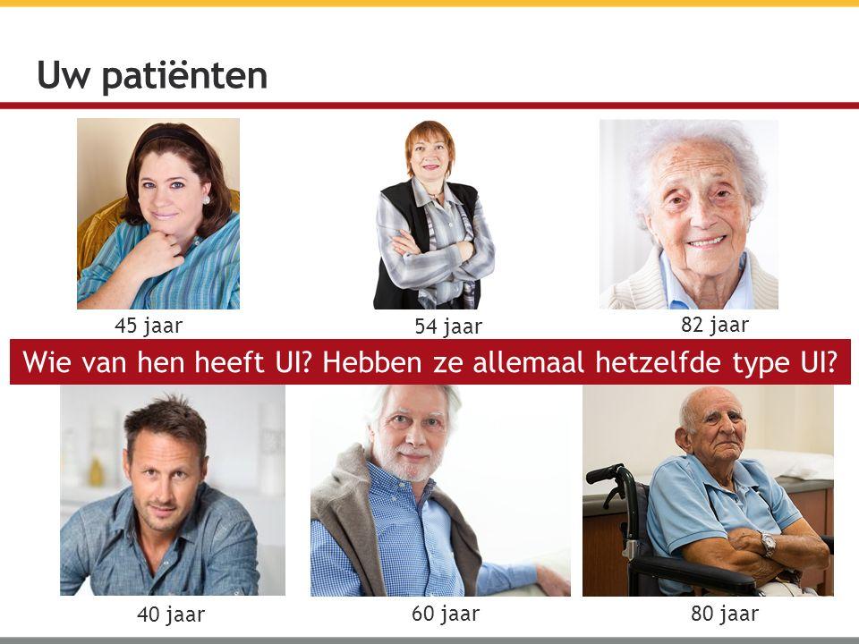 Uw patiënten 54 jaar 45 jaar 82 jaar 40 jaar 60 jaar 80 jaar Wie van hen heeft UI? Hebben ze allemaal hetzelfde type UI?