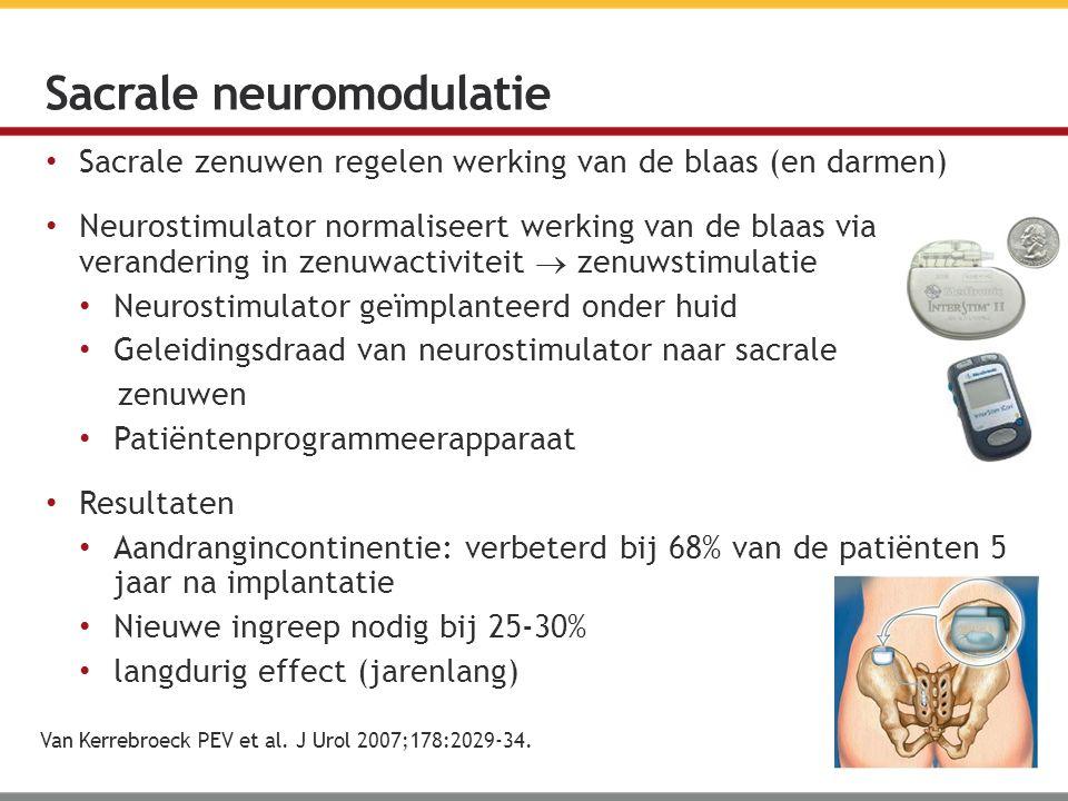 Sacrale zenuwen regelen werking van de blaas (en darmen) Neurostimulator normaliseert werking van de blaas via verandering in zenuwactiviteit  zenuwstimulatie Neurostimulator geïmplanteerd onder huid Geleidingsdraad van neurostimulator naar sacrale zenuwen Patiëntenprogrammeerapparaat Resultaten Aandrangincontinentie: verbeterd bij 68% van de patiënten 5 jaar na implantatie Nieuwe ingreep nodig bij 25-30% langdurig effect (jarenlang) Sacrale neuromodulatie Van Kerrebroeck PEV et al.