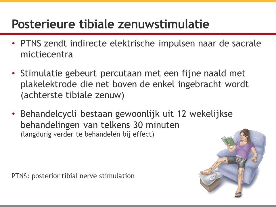 PTNS zendt indirecte elektrische impulsen naar de sacrale mictiecentra Stimulatie gebeurt percutaan met een fijne naald met plakelektrode die net boven de enkel ingebracht wordt (achterste tibiale zenuw) Behandelcycli bestaan gewoonlijk uit 12 wekelijkse behandelingen van telkens 30 minuten (langdurig verder te behandelen bij effect) Posterieure tibiale zenuwstimulatie PTNS: posterior tibial nerve stimulation