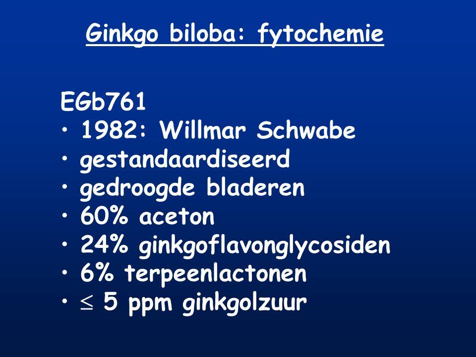 Ginkgo biloba: fytochemie EGb761 1982: Willmar Schwabe gestandaardiseerd gedroogde bladeren 60% aceton 24% ginkgoflavonglycosiden 6% terpeenlactonen 