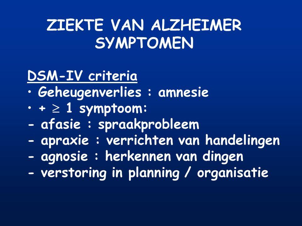 ZIEKTE VAN ALZHEIMER SYMPTOMEN DSM-IV criteria Geheugenverlies : amnesie +  1 symptoom: - afasie : spraakprobleem - apraxie : verrichten van handelin