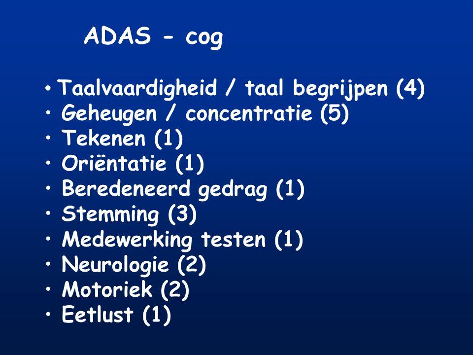 ADAS - cog Taalvaardigheid / taal begrijpen (4) Geheugen / concentratie (5) Tekenen (1) Oriëntatie (1) Beredeneerd gedrag (1) Stemming (3) Medewerking